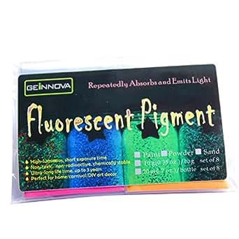 8パック/セット、色8種類の蛍光顔料 長持ちの夜光塗料 パーティ-装飾用顔料、壁、ガラス、装飾品発光剤、暗くなると自動発光する