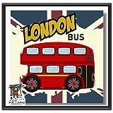 ARTomo【アトモ】パズル油絵『フレーム付き』数字 油絵 DIY パズル塗り絵(ぬりえ) 本格的な油絵が誰でも簡単に楽しく描ける 20x20cm (ロンドンバス)