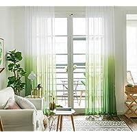 Top Finel レースカーテン 北欧風 UVカット(紫外線) 遮熱 グラデーション色 グリーン 多彩  幅100x丈110cm 2枚組(全7サイズ5色)