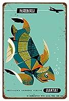 22cm x 30cmヴィンテージハワイアンティンサイン - 太平洋諸島 - カンタス航空 - アオウミガメ - ビンテージな航空会社のポスター によって作成された ハリー・ロジャーズ c.1960s