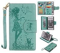 OMATENTI Sony Xperia Z5 ケース 手帳型ケース ウォレット型 カード収納 ストラップ付き 高級感PUレザー 押し花柄 落下防止 財布型 カバー (1-グリーン)
