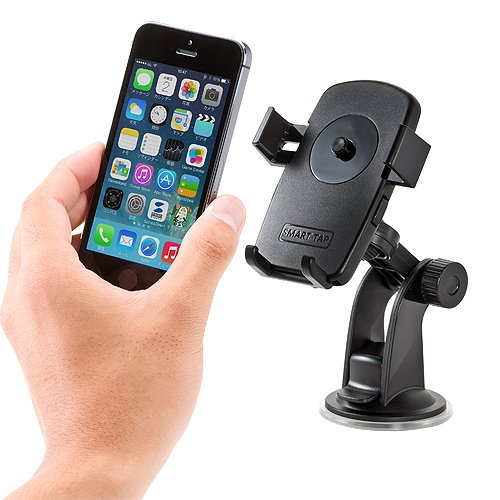 サンワダイレクト iPhone5s スマートフォン 車載ホルダー 簡単取り外し オートホールド機能 200-CAR012