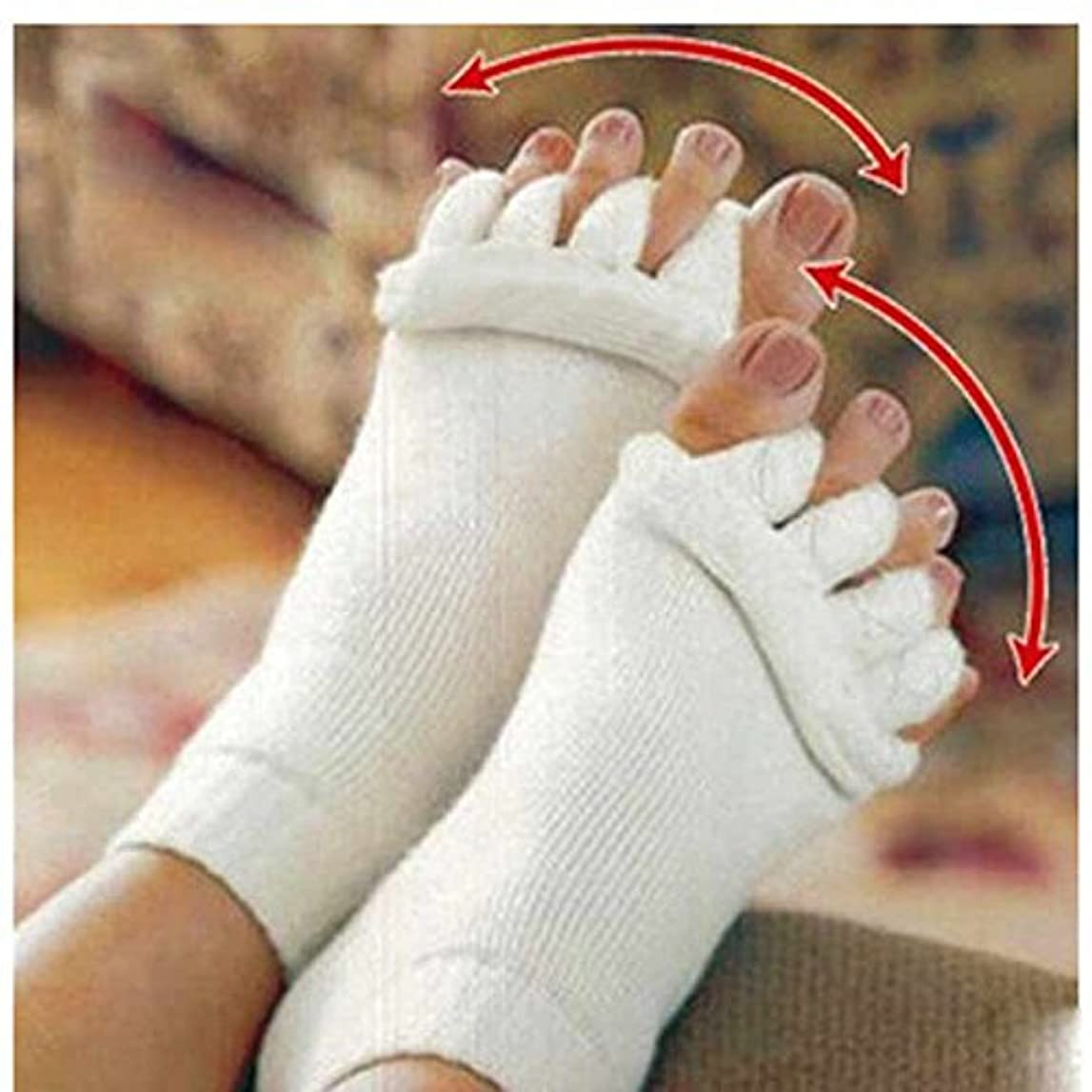 グローエチケットLorny(TM) 2個マッサージファイブつま先ソックス指セパレーター骨の親指女性ソックスのためにコレクターの痛みを軽減するソックスペディキュア足セパレーターについて
