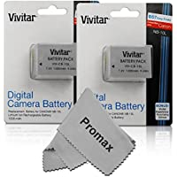 Promax NB - 10l超高容量バッテリー&充電器for Canon PowerShot sx40HS sx40hs、sx50HS sx50hs、g1X g1X , PowerShot g15, PowerShot g16デジタルカメラ SET OF 2 BATTERIES グレー SO-002