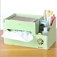 WTL かご?バスケット 木製多機能紙タオル板紙ボックス収納ボックスオフィス収納ボックス (色 : 緑)