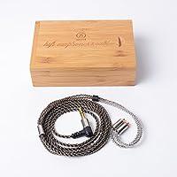 Woodhifi DY5N リケーブル MMCX イヤホン ケーブル 交換ケーブル 耳掛型 アップグレードケーブル SE215 SE315 UE900 SE846 SE535 SE425に対応 マイクなし 5N 4股手編み L型 グレー NM