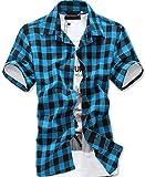 (ルビタス) rubitas チェック シャツ メンズ 半袖 ボタン ジャケット 格子柄 カッコイイ ゴルフ ウェア (M, 水色黒チェック)