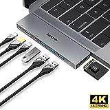 Macbook Pro USB-C ハブ 4k HDMI 40Gbps Thunderbolt 3 ハブ パススルー充電 USB3.0×3、Micro/SDカードリーダー Macbook Pro 13/15インチ専用ハブ  iMXPW USB Type-C ハブ  Pro USB Type-C HUB アルミニウム (グレー)
