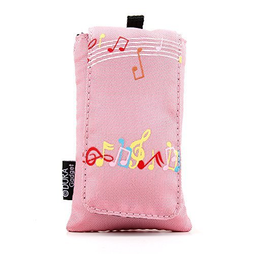 Pink 'Music' Design Cushioned Music Player Case / Pouch With Red Interior Lining - For the Sony NWZE585 16 GB Walkman Video MP3 Player - by DURAGADGET [並行輸入品]