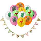 Party Banner Balloons for Hawaiian Decor,Konsait Tropical Decor Pineapple Hibiscus Tropical Palm Leaves Hanging Garland for Home Wall Tropical Luau Themed Birthday Party Decor Supplies Favours(26Pack)