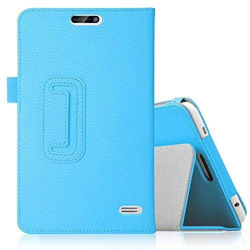 【IVSO】Dragon Touch S8/ギーク A1 8インチ タブレットケース,【選べる5色】Dragon Touch S8上質PUレザーケース 超薄型 最軽量 さらさらタイプ スマートフォンケース 磨き砂のシリーズ - Dragon Touch S8専用カバー(ブルー)
