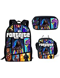MOREFUN Fortnite Game Children School Backpack Casual Book Bag Set with Insulated Lunch Bag Pencil Box Travel...