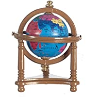 Dolls House World Globe in Walnut Stand Miniature Study Accessory
