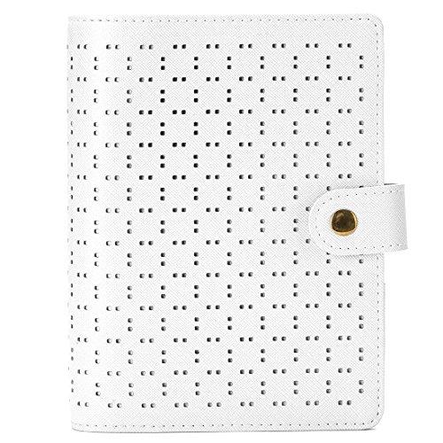 透かし彫り Fjfz システム手帳 バイブル ミニ6穴 リフィル付き ホワイト 2018 かわいい リング 内径30mm おしゃれ レディース 軽量