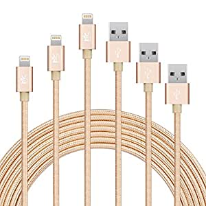 【3本セット】RoiCiel 2重編込高耐久ナイロン素材 コンパクト端子 高速データ転送対応 iPhone X / 8/ 8 Plus/iPhone 7/ 6/ iPad/ iPod用対応のlightning usbケーブルRC86LTN-1G (1M 3本セット, ゴールド)
