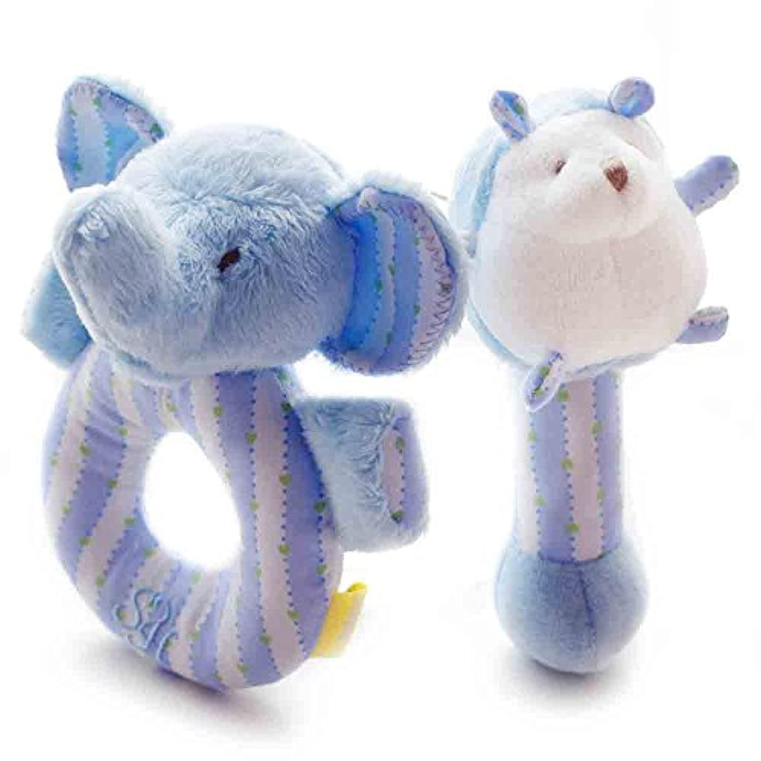 SHILOH Baby Plush Rattle 2 cont Elephant and Hedgehog Blue 4.8inX5.6in by Shiloh