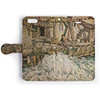 iPhone ケース 手帳型 カバー (iPhone X/iPhone XS) エゴン・シーレ/壊れた水車小屋 / カード収納 ストラップホール付 スマホケース