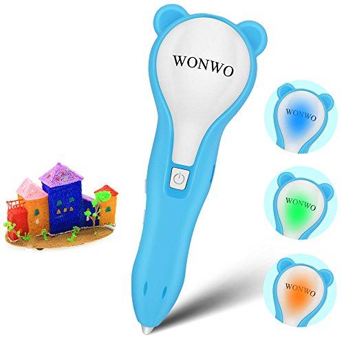 Wonwo 3Dペン3Dプリントペン プリンタペン 低温安全 LEDライト USB充電 スピード調整 温度調整 PCLフィラメント 立体印刷 知育 子供 おもちゃ DIY プレゼント
