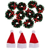 Baoblaze 1/12 Dolls House Mini Hanging Xmas Wreath & Red Hat Dollhouse Christmas Tree Decoration Garland - Photography Props