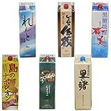 奄美黒糖焼酎 1升紙パック特選品 (里の曙(レギュラー),れんと他) 6本セット