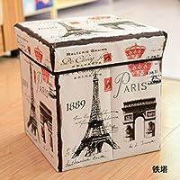 欧州の漫画収納ボックス, フリップ カバー変更靴ベンチ レトロ印刷折りストレージ ベンチ-G 30x30x30cm(12x12x12)