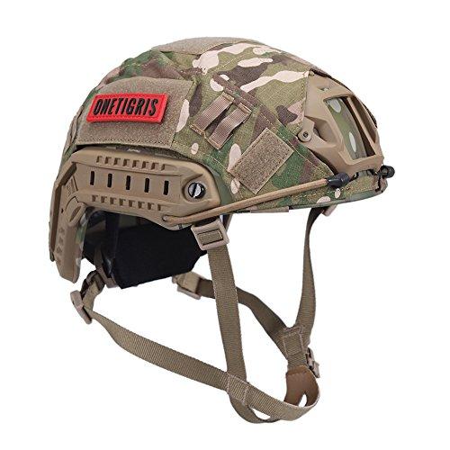 OneTigris ファスト ヘルメット PJタイプ ヘルメットカバー付属 迷彩 かっこいいミリタリー風 多目的 サバゲーヘルメット (マルチカム迷彩)