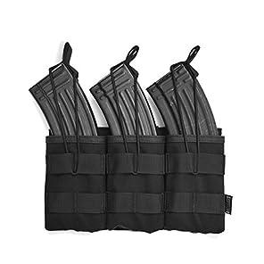 OneTigris トリプルマガジンポーチ 3連オープン M4/M16 AK AR  モール対応 チェストリグ取り付け可能 サバゲー (ブラック-A)