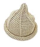 【Yuson Girl】折りたためる 麦わら帽子 風 とんがり帽子 エコアンダリア を使った 軽くて かわいい 手編み 帽子 (ベージュ)