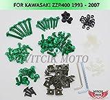 VITCIK カワサキ Kawasaki ZZR400 1993 - 2007 93 94 95 96 97 98 99 02 03 04 05 06 07 オートバイ用フルフェアリングボルトネジキット ファスナー CNC アルミクリップ (グリーン)