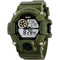 Aposon Mens Military Digital Outdoor Electronic Water Resistant LED Sport Watch with S-Shock Multifunctional - Army Green