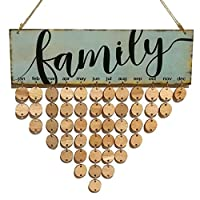 etbotu木製Hangingカレンダー& # xff0C ;誕生日アラームボードPlaque Sign Hanging、DIYホーム装飾 FAMILY calendar wood grain wafer accessories KY-HOME-1-1-123017-78