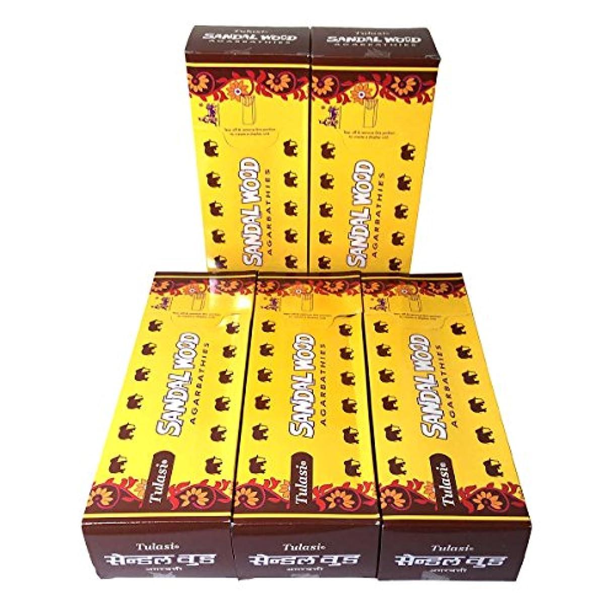 材料講師延ばすサンダルウッド香スティック 5BOX(30箱)/TULASI SANDAL WOOD/ インド香 / 送料無料 [並行輸入品]