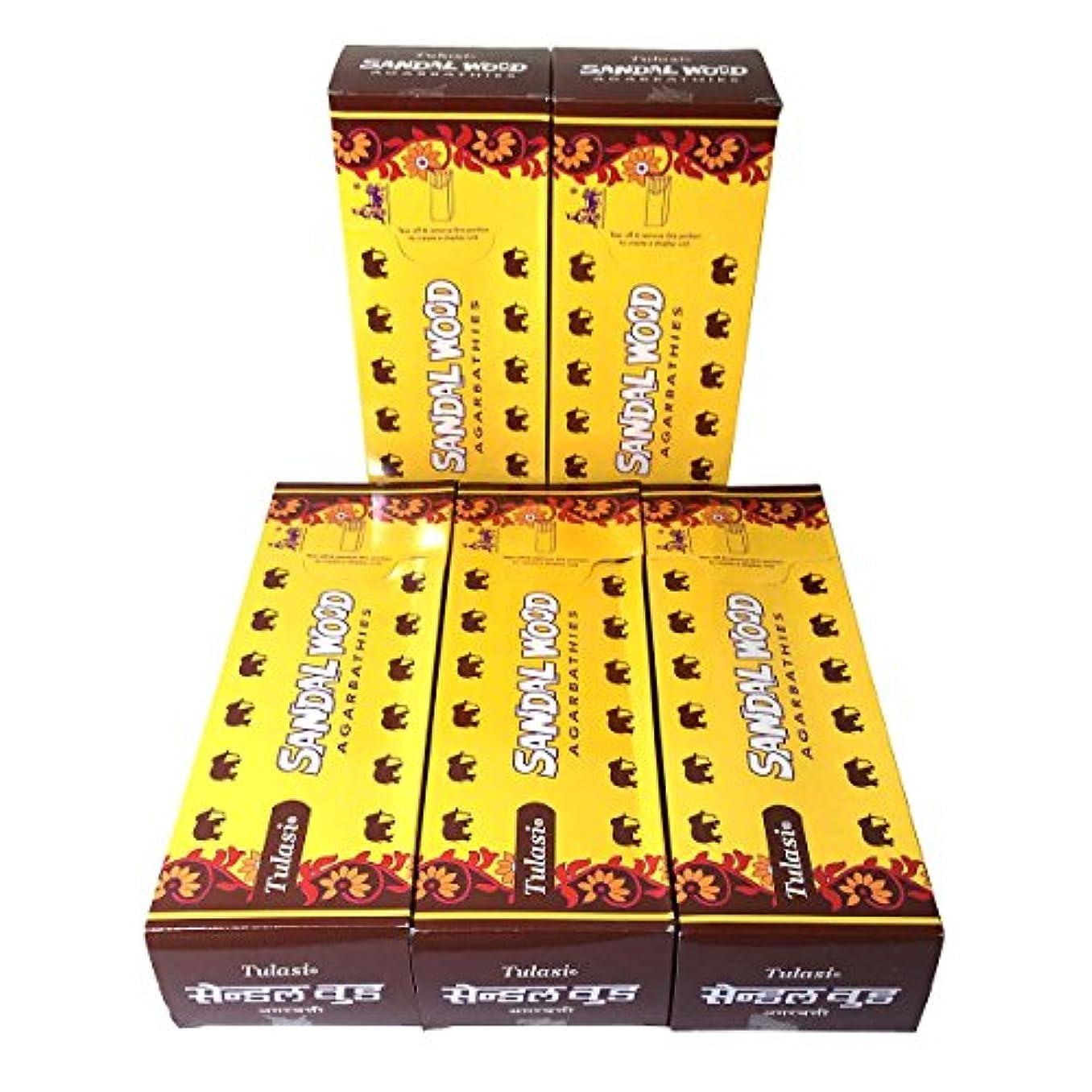 修復きょうだい瞬時にサンダルウッド香スティック 5BOX(30箱)/TULASI SANDAL WOOD/ インド香 / 送料無料 [並行輸入品]