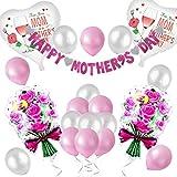 母の日パーティー飾り mother's day 家族パーティー 感謝祭り ピンク グレー ハート バラ花 バルーン 風船 装飾 飾り付け 25つセット