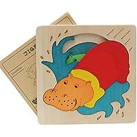 幼児期のゲーム 創造的な木製の3D教育パズルアーリーラーニング番号の形の色の動物のおもちゃキッズのための素晴らしいギフト(カバ)