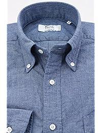 (フェアファクス) FAIRFAX デニム風シャツ ブルー、シャンブレーオックス 綿100% (細身)イタリーアルビアーテDenim b2090