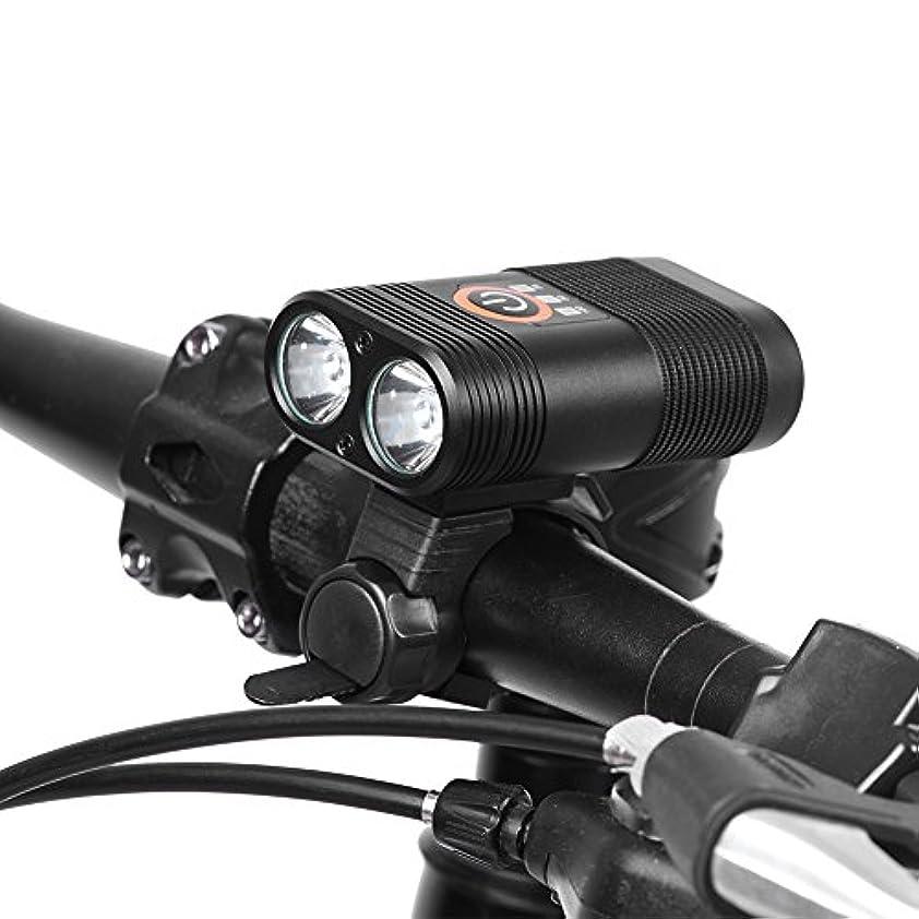 自慢クルー二週間自転車ライト LEDヘッドライト USB充電 5つモード IPX6防水 2400lm 2200mAh 自転車LEDライト 自転車前照灯 ハイキング、探索、キャンプなど