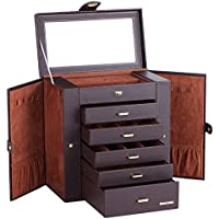 Large Mirror Luxury Jewellery Box Cabinet Necklaces Rings Watch Storage Case Box for Women Men 241 (Brown)