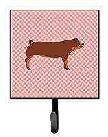 Caroline's Treasures Duroc Pig Pink Check Wall Hook Small Multicolor [並行輸入品]