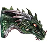 Mediaeval Times Green Dragon Wall Plaque With LED Illuminated Eyes Sculpture Plaque Home Decor