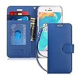 iPhone8 ケース iphone7ケース,Fyy [RFIDブロッキング] 100%手作り 良質PUレザーケース 横開き 手帳型 二つ折り カードホルダー&ストラップ付き スタンド機能 マグネット開閉 保護カバー iPhone 8/7 用 ネイビー