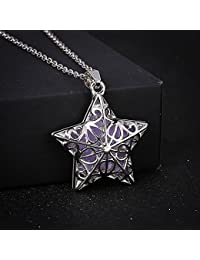 SODIAL スター(星) 蓄光夜光ネックレス レディース ネックレス ス ネークチェーン付き