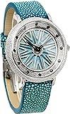 [クリスチャン ボヌール]Christian Bonheur 腕時計 文字盤が回る ラインストーン シェル スティングレイ 磨きエイ革 CB15401-SSLBL ブルー [並行輸入品]