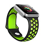 Ausche Apple Watch スポーツバンド アップルウォッチ シリコン 交換ベルト Apple Watch全機種対応(42mmロング ブラック&グリーン)