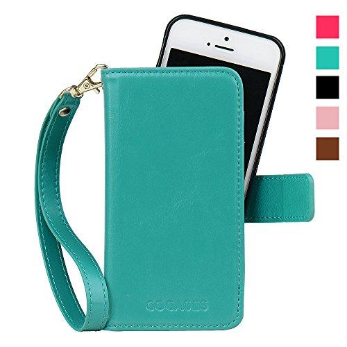 iPhone SE/5s/5 ケース COCASES 手帳型 本革 スタンド機能付き 分離式 アイフォン SE/5/5s マグネット式 財布型 レザー カードポケット付きカバー(ブルーグリーン)