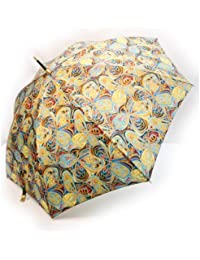 NOBEL[ノーベル] 雨傘 レディース 長傘 婦人 日本製 国産品 ポリエステル チョウ花 プリント軽量 オレンジ