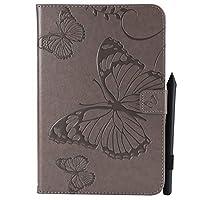 YHUISEN サムスンギャラクシータブのための蝶の花の花柄PUレザーウォレットスタンドタブレットケースA 8.0インチSM-T350(2015リリース) (色 : グレー)