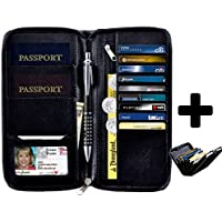 RFID Blocking Travel Passport Holder Leather Bundle WITH RFID Card holder Aluminium Credit Card Holder Protection from Electronic Pickpocketing