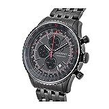 Guionnetメンズflighttimer Watchクロノグラフ、回転、ベゼルAir calcultor、クォーツ、メタルブラックブラック