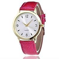 女性ファッショナブルなレザーバンドアナログクォーツ本物の革ベルトローマ数字表示ラウンド腕時計